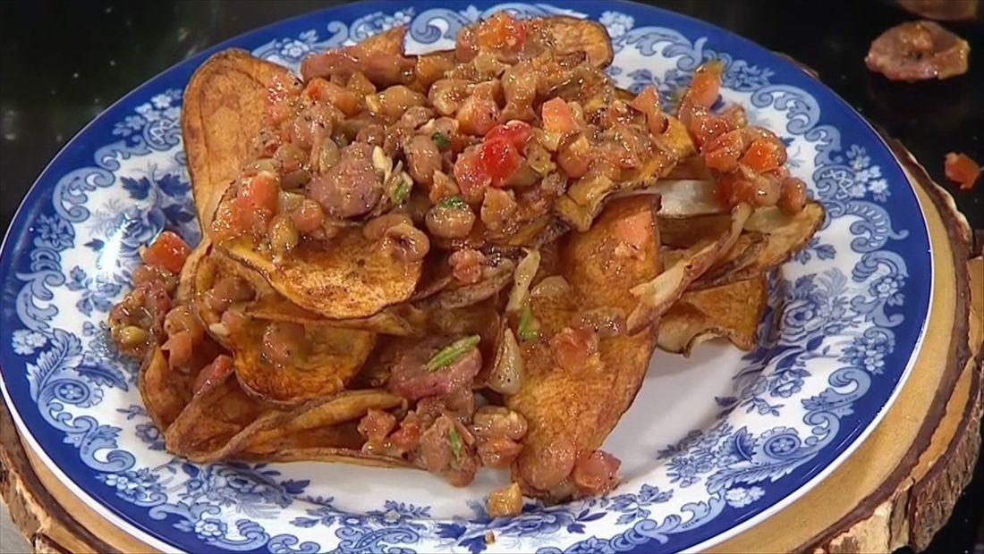 Nachos con papas fritas